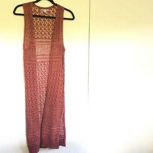 Long crochet duster vest rust red hippie small